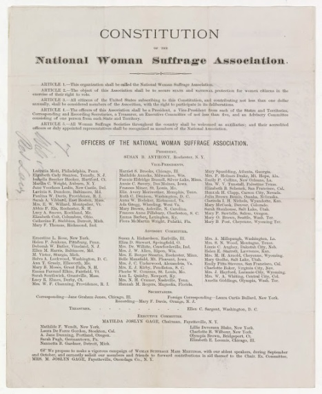 Constitution of the National Woman Suffrage Association